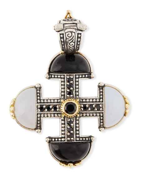 Thetis Agate & Spinel Short Cross Pendant