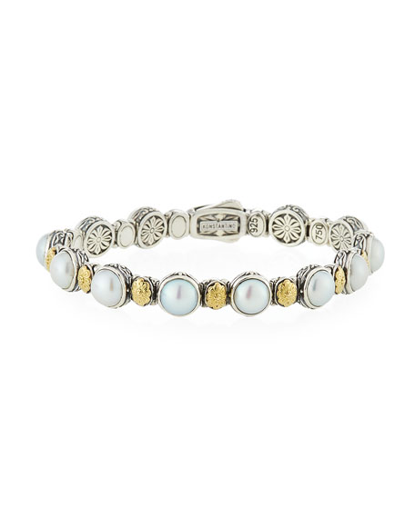 Hestia Mother-Of-Pearl Station Bracelet in White/ Silver/ Gold