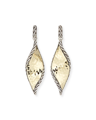 18k Classic Chain Hammered Wave Drop Earrings