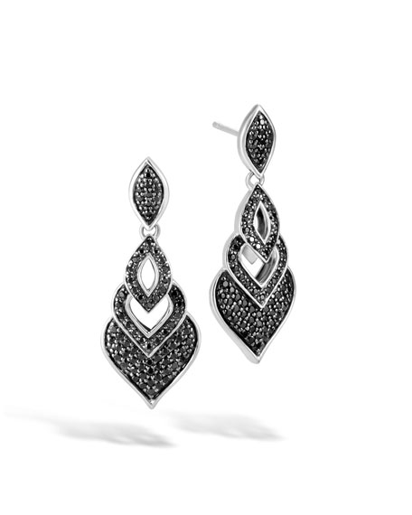 John Hardy Naga Drop Earrings w/ Black Spinel