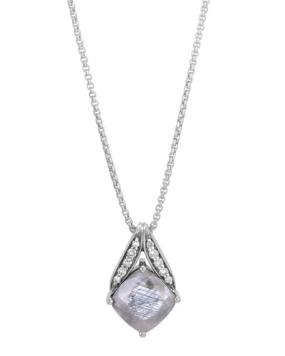 Modern Chain Silver Pave Magic Cut Pendant Necklace in  Silver Sheen Sapphire