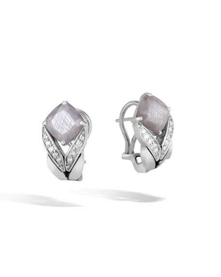 Modern Chain Magic Cut Buddha Belly Earrings in Silver Sheen Sapphire & Diamonds
