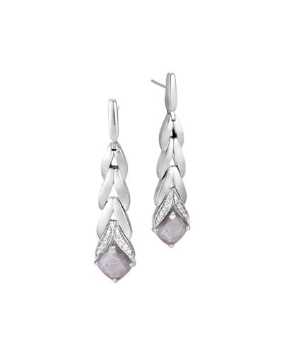 Modern Chain Magic Cut Drop Earrings in Silver Sheen Sapphire & Diamonds