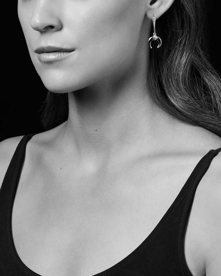 Caviar Bead Onyx Horn Drop Earrings