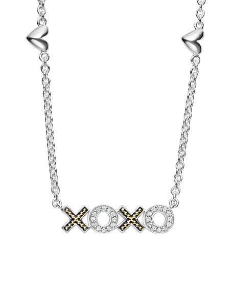 Lagos Diamond Caviar XOXO Pendant Necklace