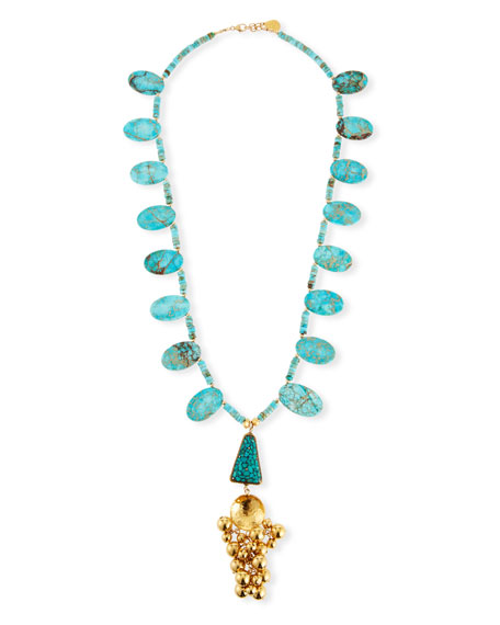 Turquoise Ball Cluster Pendant Necklace, 32""