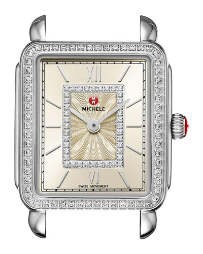 Deco II Midsize Diamond Watch Head, Champagne Dial