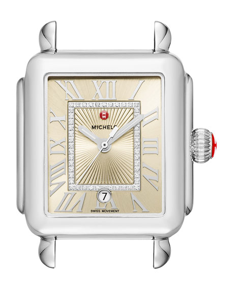 Deco Madison Stainless Steel Watch Head with Diamonds, Champagne Dial