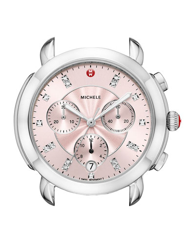 Sidney Stainless Steel Watch Head with Diamonds, Silver/Pink