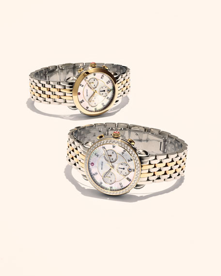Sidney 18K Two-Tone Watch Head with Diamonds, Gold/White