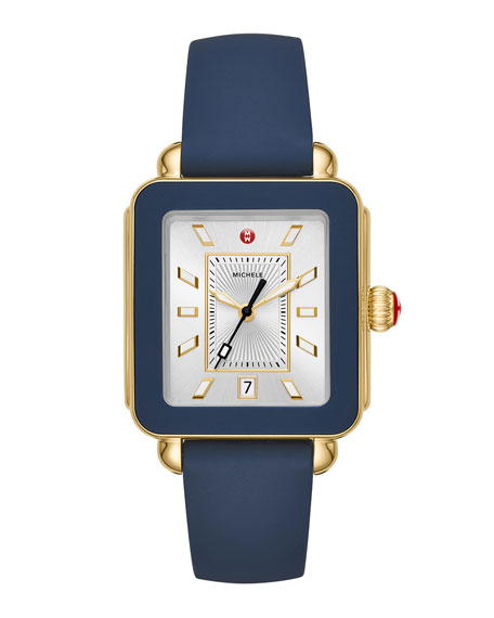 MICHELE Deco Sport Watch Head & Silicone Strap Watch, 34Mm X 36Mm in Blue/ Silver/ Gold