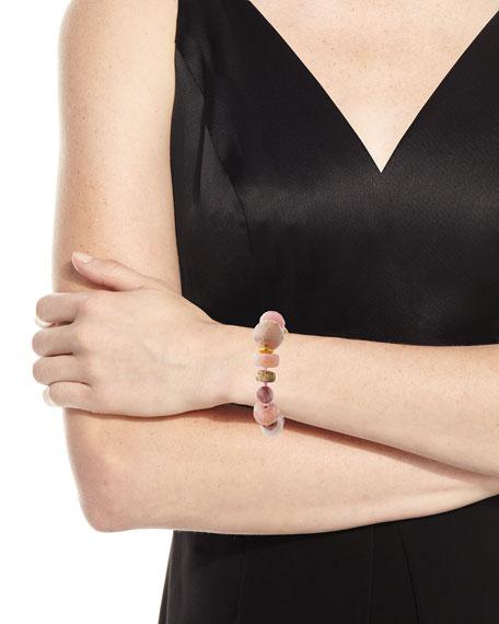 18k Rondelle & Ball Stretch Bracelet, Pink