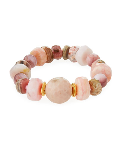 18k Rondelle & Ball Stretch Bracelet, Pink