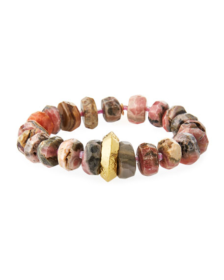Devon Leigh 18k Rhodonite Rondelle Stretch Bracelet