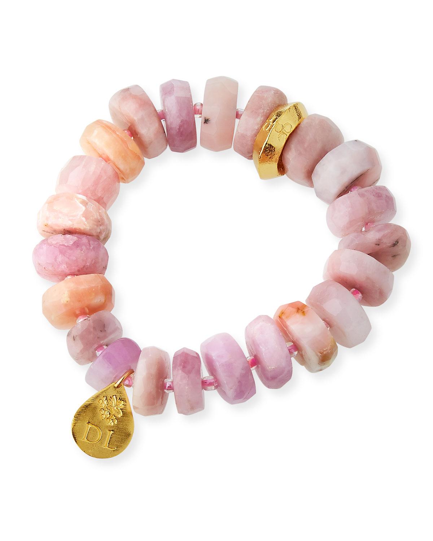 Devon Leigh 18k Rondelle & Ball Stretch Bracelet, Pink