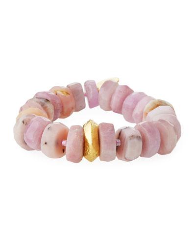 18k Rondelle Stretch Bracelet, Pink