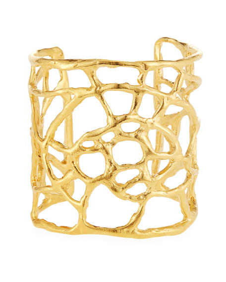 Golden Plated Web Cuff Bracelet