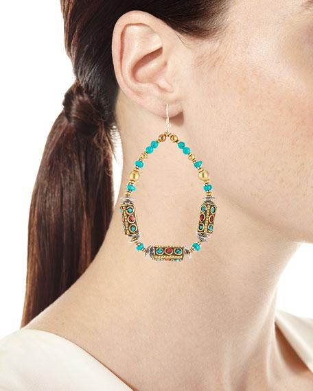 Turquoise & Coral Teardrop Earrings
