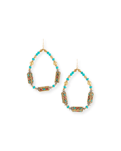 Turquoise & Coral Teardrop Earrings