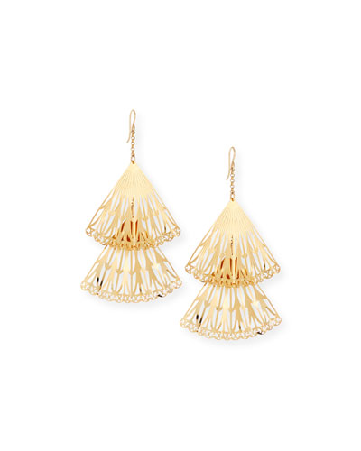 Double Fan Drop Earrings