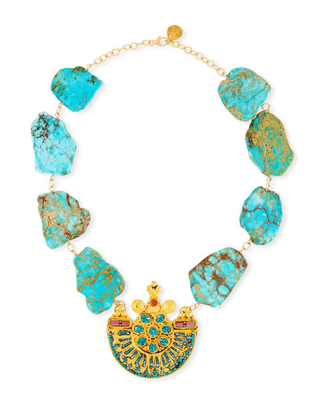 DEVON LEIGH TURQUOISE SLAB PENDANT NECKLACE