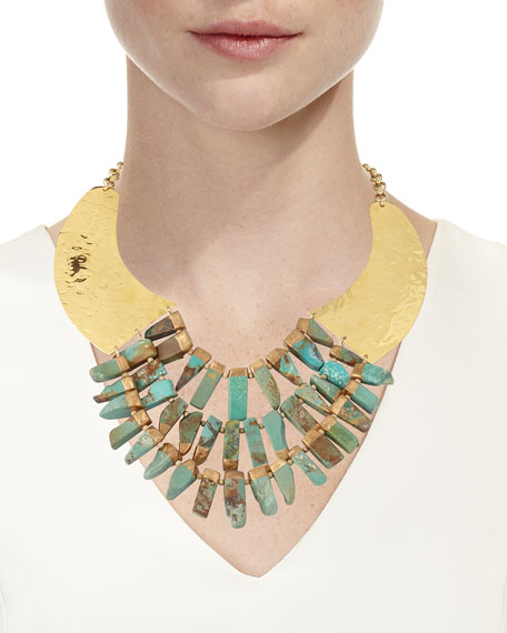 Turquoise Hammered Statement Necklace