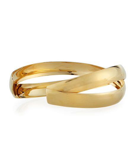 14k Gold Alias Cross Curve Bubble Cuff Bangle