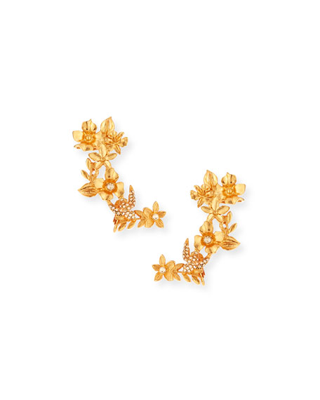 Oscar de la Renta Bouquet Cuff Clip-On Earrings