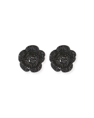 Gardenia Pavé Button Clip-On Earrings