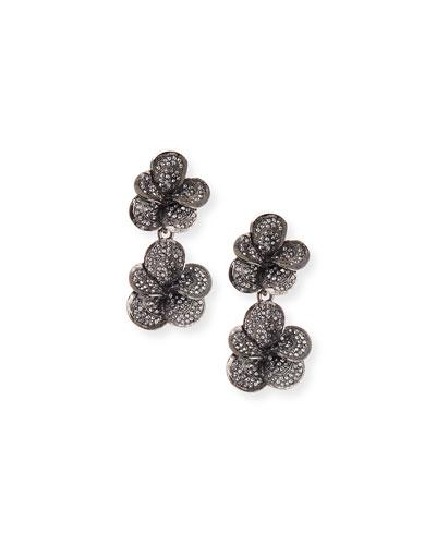 Pavé Swarovski Crystal Flower Clip Earrings