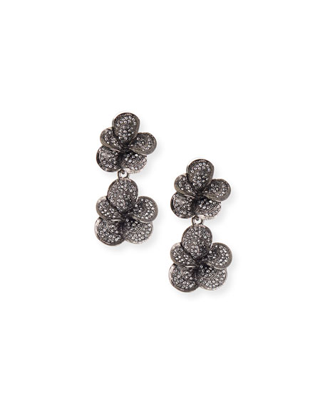 Pavé Swarovski Crystal Flower Clip Earrings