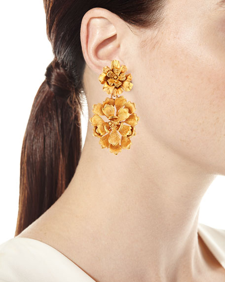 Blooming Bold Flower Drop Clip Earrings