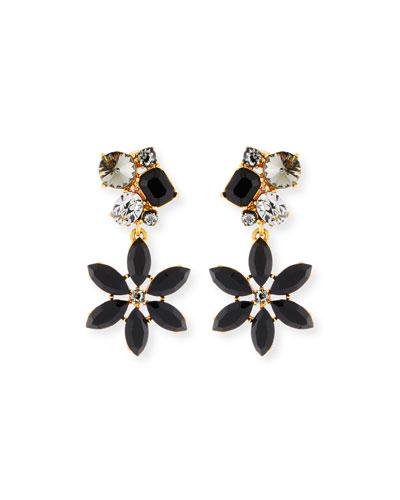 Crystal Flower Clip-On Earrings