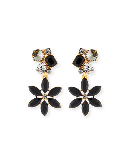 Oscar de la Renta Crystal Flower Clip-On Earrings
