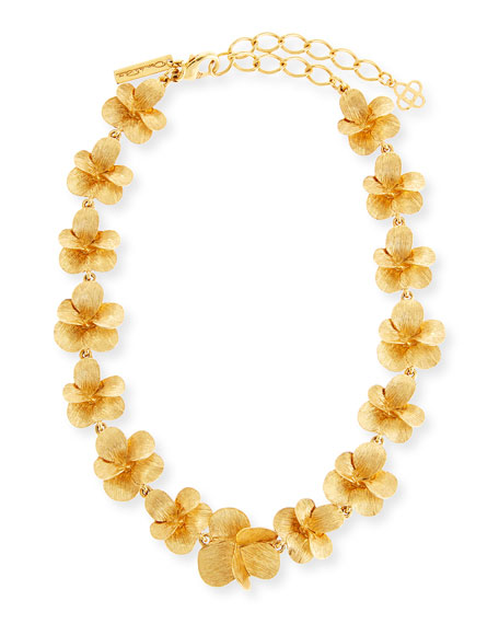 Oscar de la Renta Brushed Flower Necklace