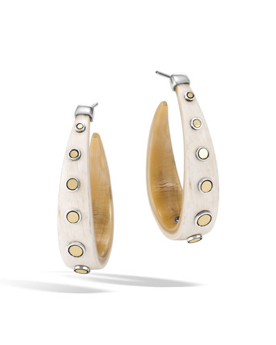 Dot Buffalo Horn Hoop Earrings
