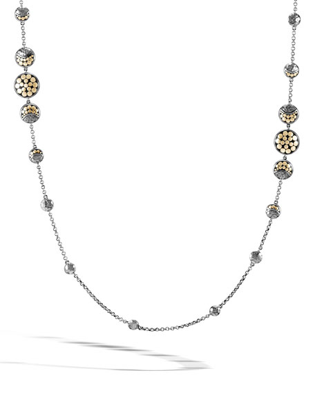 Dot Silver/Gold Moon Phase Station Necklace, 36""