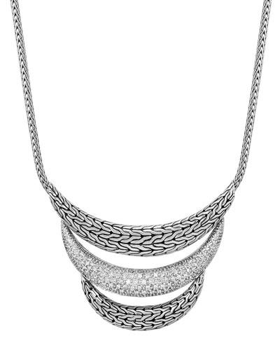 Classic Chain Arched Bib Necklace w/ Diamond Pavé