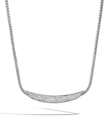 Classic Chain Arch Silver Diamond Pave Necklace, 18""