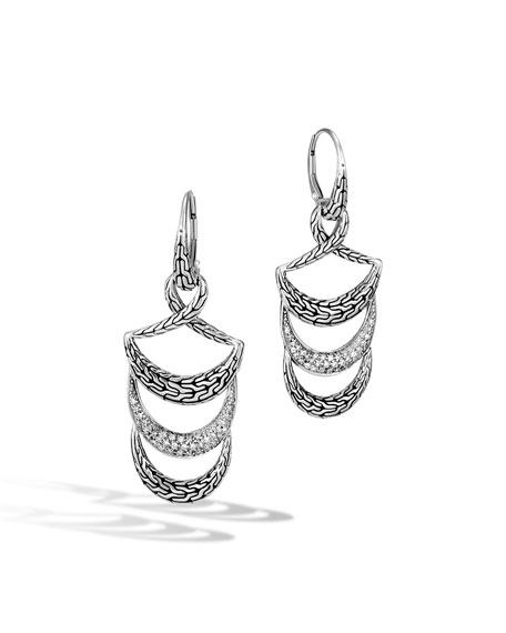 John Hardy Classic Chain Arch Diamond Dangle Earrings