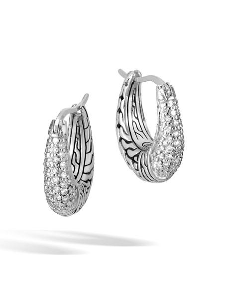 John Hardy Classic Chain Diamond Arch Silver Hoop