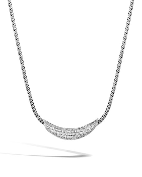 John Hardy Classic Chain Silver Diamond Arch Necklace,