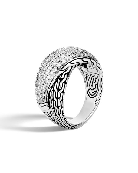 John Hardy Classic Chain 15mm Dome Ring with Diamonds zHgTPb