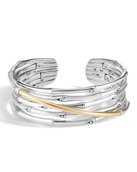John Hardy Two-Tone Bamboo Flex Cuff Bracelet