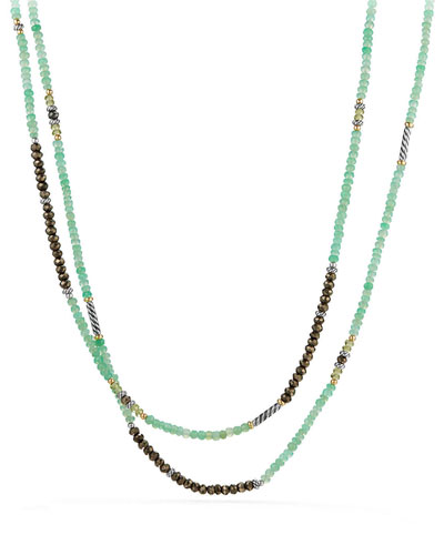 Tweejoux® Long Silver Bead Necklace in Green/Gray Stone Mix, 36