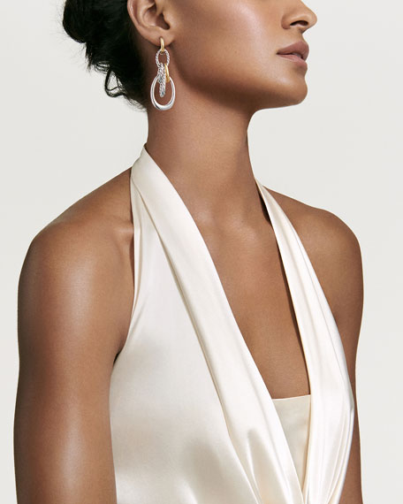 Pure Form Convertible Link Drop Earrings w/ 18k Gold