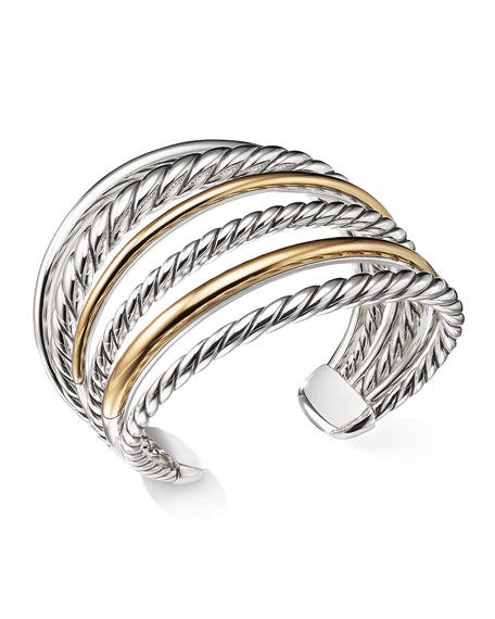 Image 3 of 3: David Yurman Pure Form Multi-Row Cuff Bracelet w/ 18k Gold