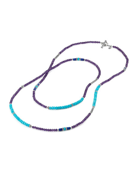 Tweejoux® Long Bead Necklace in Purple/Blue Stone Mix, 36""