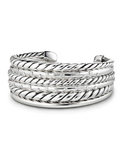 Pure Form Silver Multi-Row Cuff Bracelet w/ Diamonds