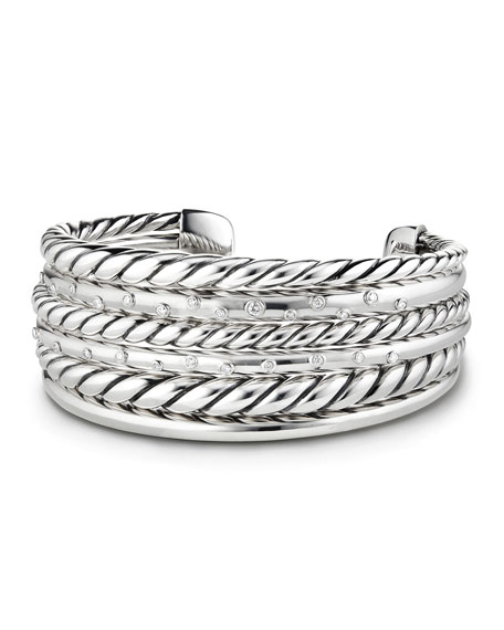 David Yurman Pure Form Silver Multi-Row Cuff Bracelet